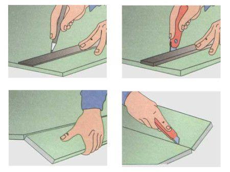 На листы гипсокартона наносим разметку будущих поверхностей камина.