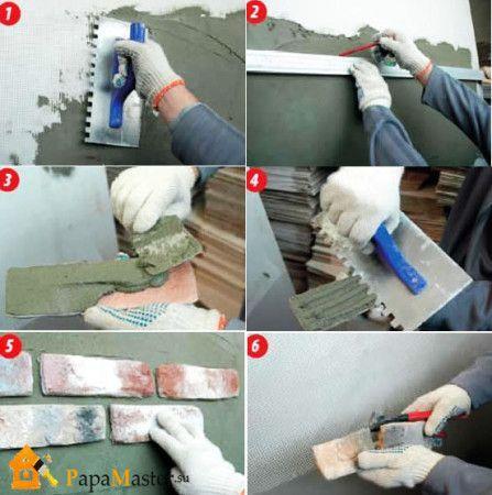 Процесс отделки камина декоративным камнем