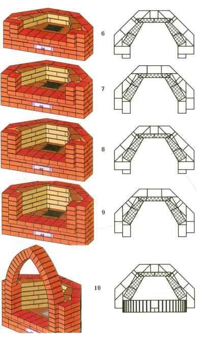 Схема кладки камина 6,7,8,9,10