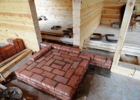 Фундамент для печи из рядов огнеупорного кирпича