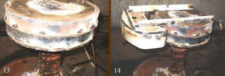 Монтаж бака принятого для заливки отработанного масла