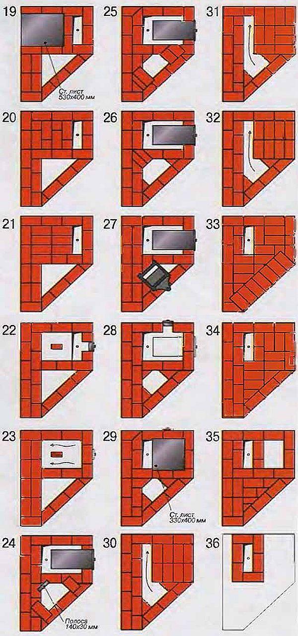 Порядовка печи-камина: ряды с 19 по 36