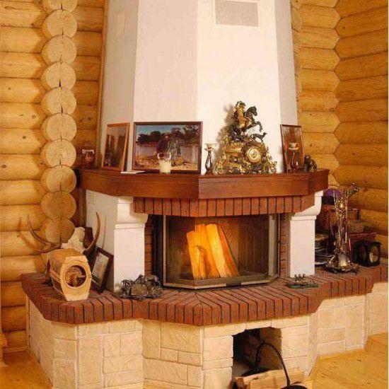Печь-камин угловая для дачи