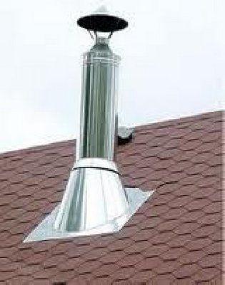 Дымоход на крыше обязательно прикрывают зонтом