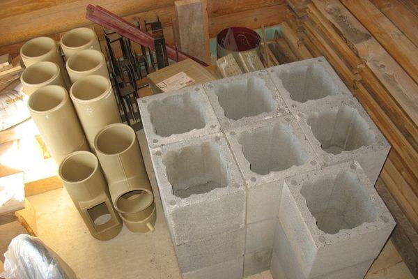 Керамические трубы и бетонные блоки для сэндвич-дымохода