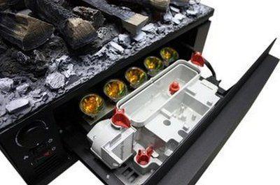 Панель скрывает устройства контроля, имитации пламени, увлажнения воздуха