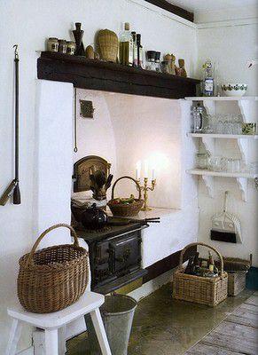 Буржуйка в интерьере дачной кухни