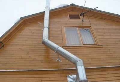 Расположение дымоходной трубы на внешней стене дома