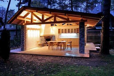 Площадка для барбекю на даче