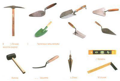 Инструменты для кладки камина мангала