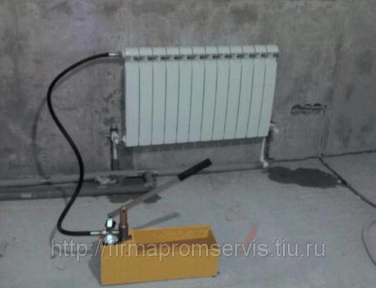опрессовка радиатора отопленияопрессовка радиатора отопления