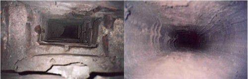Дымоход до и после внутренней обмуровки