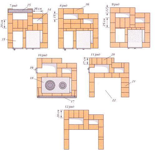 Продолжение кладки - ряды 7 - 12