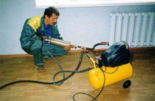 Процесс гидропневматической промывки системы отопления