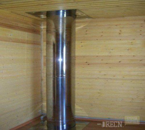 стык металлического дымохода с перекрытием