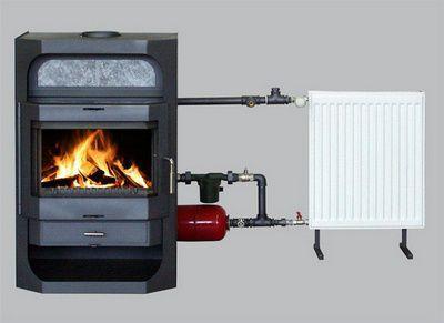 Чугунная печь длительного горения с контуром отпления