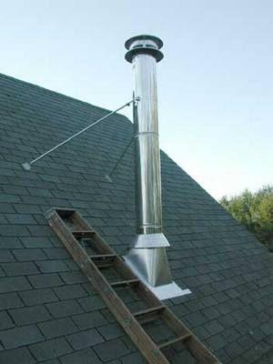Дымоход очень современно смотрится на любой крыше