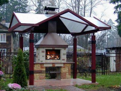 Капитальный мангал-барбекю с крышей