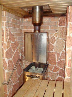 Металлическая печь для сауны с водяным баком