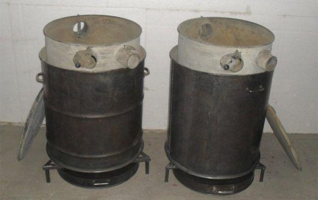Пиролизная печь из бочки с ножками