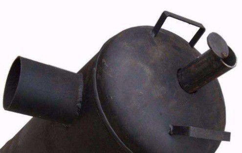 Дымоход, приваренный вверху баллона