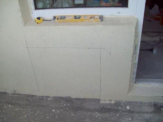 Разметка стены под радиатор