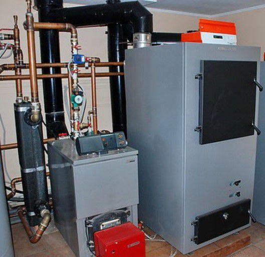 Газогенераторный котел, подключенный к системе отопления