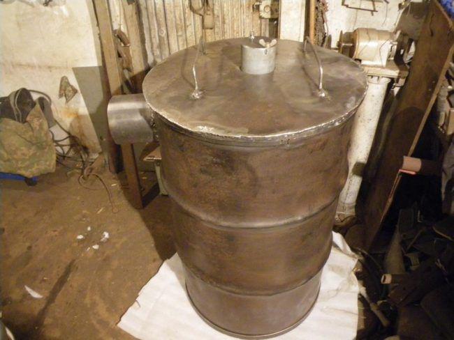 Переносная пиролизная печь из железной бочки