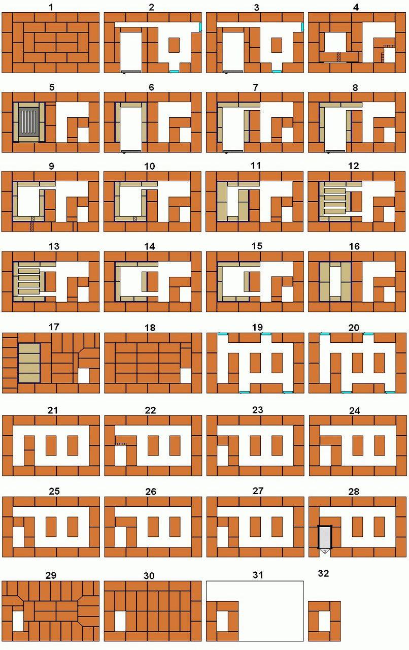 Порядовая схема кладки печи длительного горения