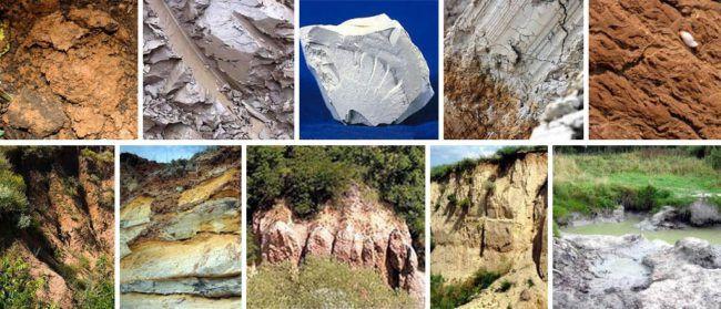 Глиняные залежи различных типов