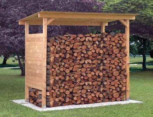 Деревянная дровница для уличного хранения
