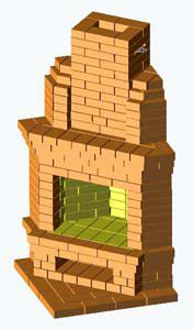 Угловой камин (общий вид схемы кладки)