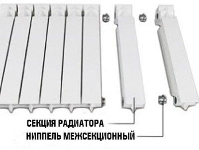 Соединение секций радиатора