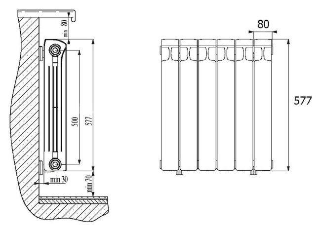 Один из вариантов размеров алюминиевых радиаторов