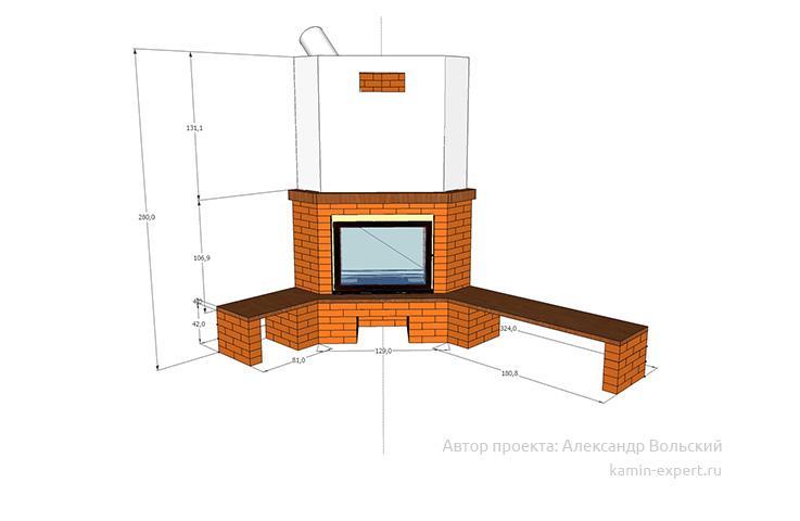Проект углового камин вид 7