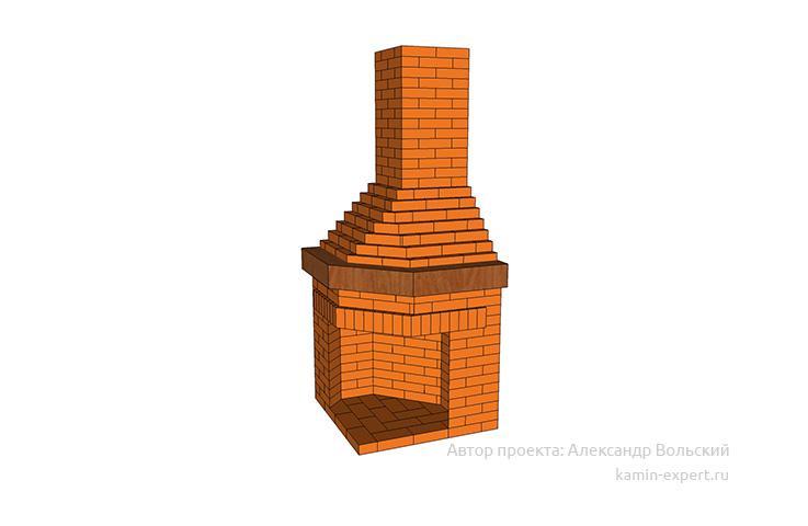 Проект углового камина № 108 вид 1