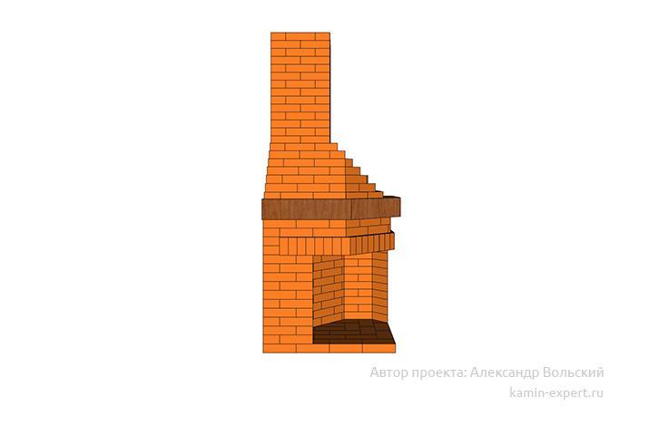 Проект углового камина № 108 вид 2