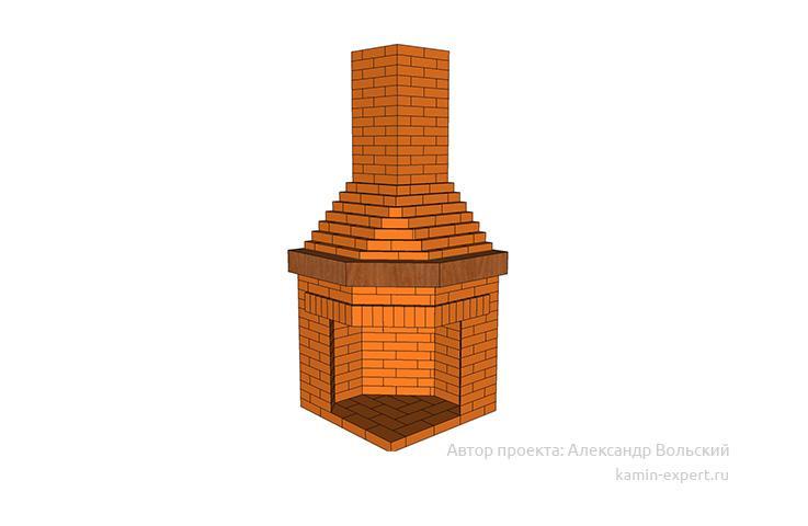 Проект углового камина № 108 вид 3