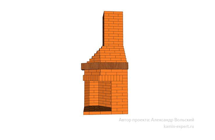 Проект углового камина № 108 вид 4