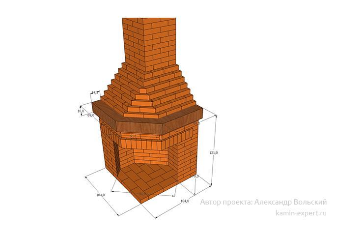 Проект углового камина № 108 вид 5