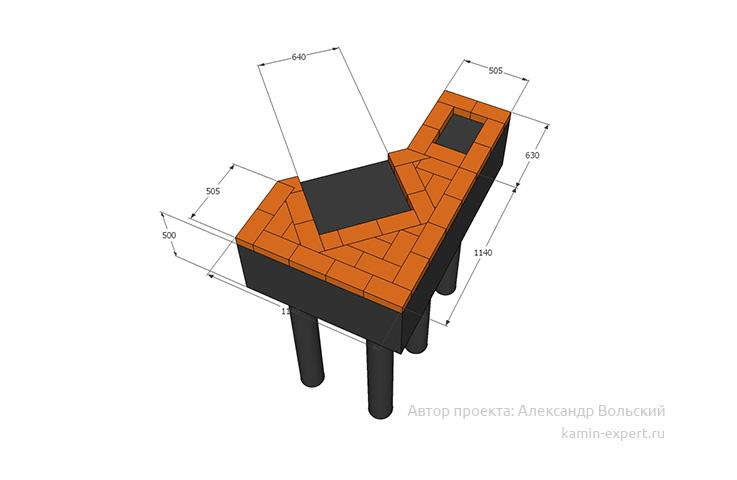 Проект углового мангала № 128 вид 5