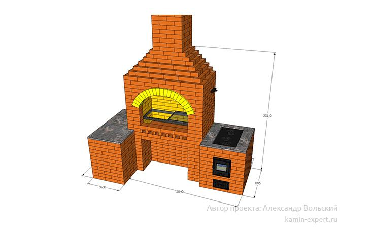 Проект комплекса барбекю № 228 вид 3