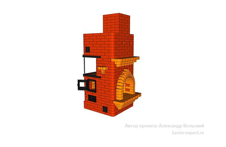 Проект печи-камина № 314 вид 2