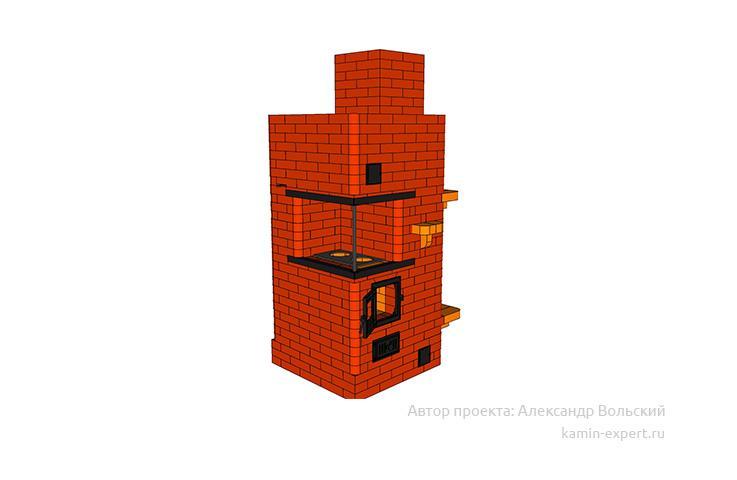 Проект печи-камина № 314 вид 4