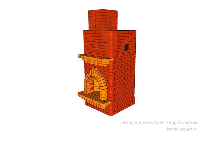 Проект печи-камина № 314 вид 8