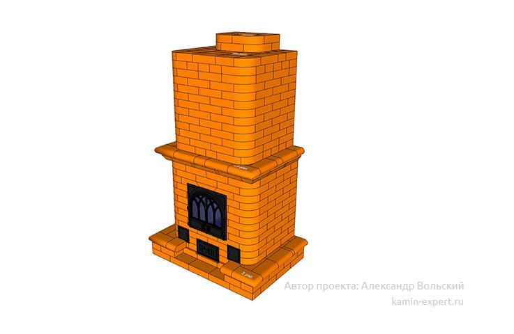 Проект печи-камина № 42 вид 1
