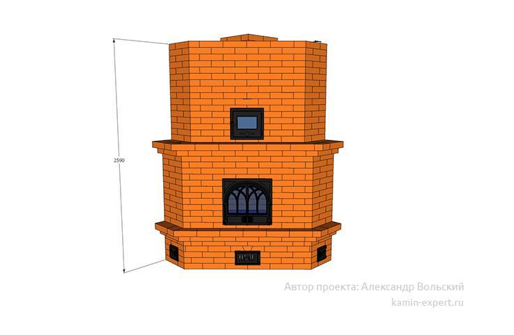 Проект угловой печи № 440 вид 1