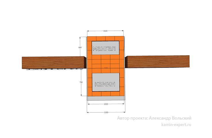 Проект камина-мангала № 62 вид 2
