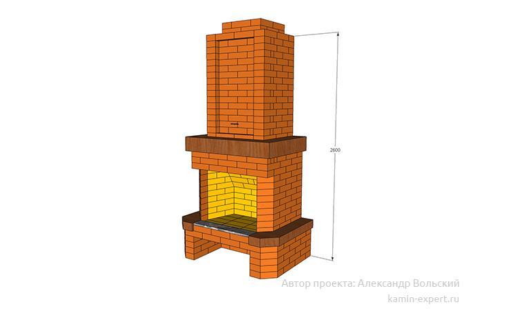 Проект пристенного камина № 67 вид 1