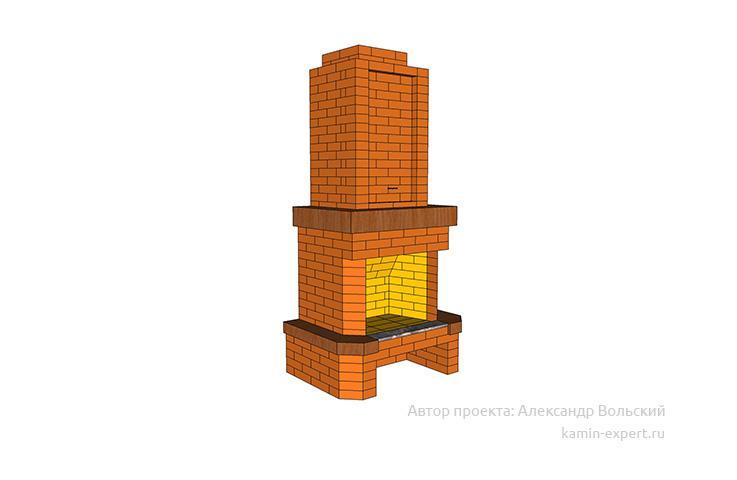 Проект пристенного камина № 67 вид 2